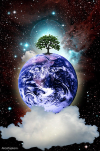 Earth in space with a tree